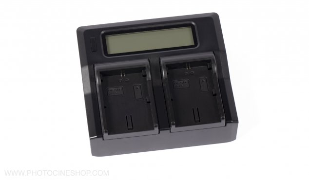 AXCOM - Double-Charger with LCD-Display for Canon LP-E6